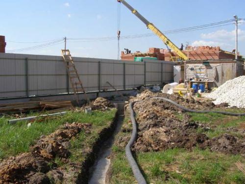Укладка дренажной трубы один из этапов монтажа системы ливневой канализации